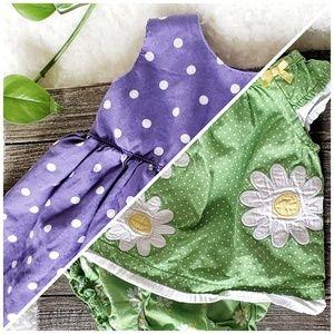 2 Polka Dot Baby Dresses | Purple, Daisy 12 mo.
